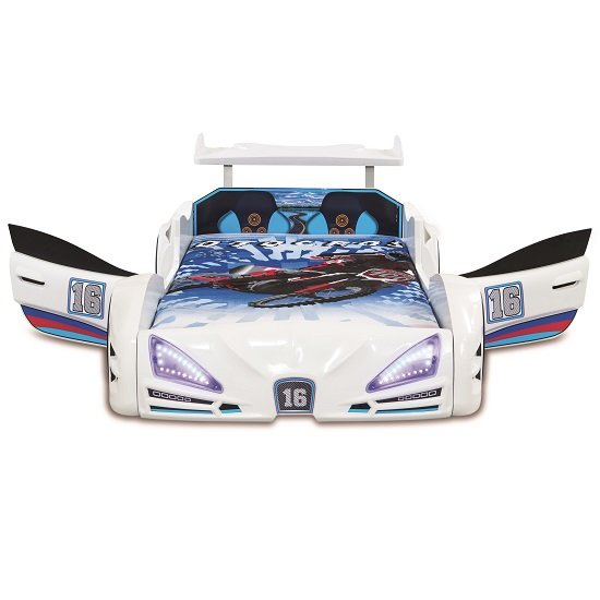Buggati Veron Childrens Car Bed In White With Spoiler And LED_3