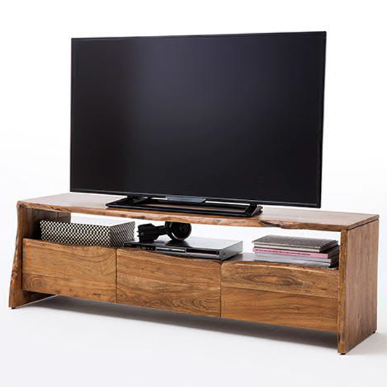 Bugri Wooden TV Stand In Walnut With 3 Drawers