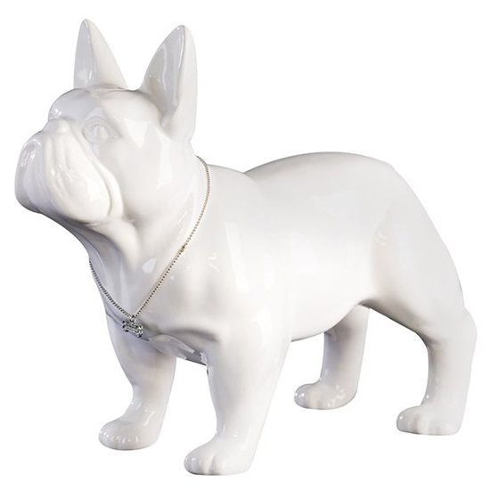 Bully Ceramic Dog Sculpture In White