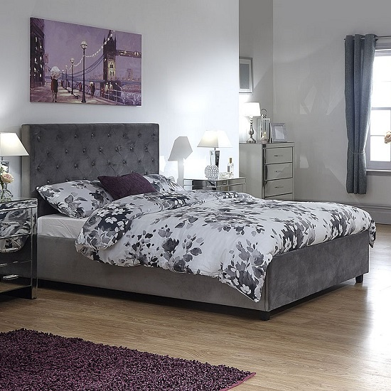 Bumpy Fabric Lift Up Ottoman Storage Bed In Grey_1