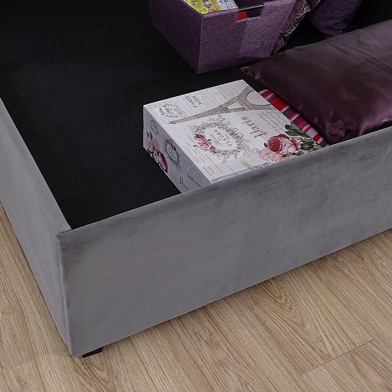 Bumpy Fabric Lift Up Ottoman Storage Bed In Grey_3