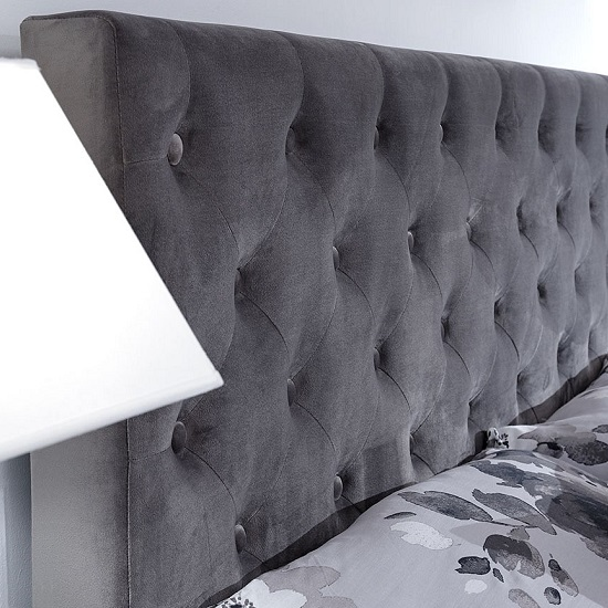Bumpy Fabric Lift Up Ottoman Storage Bed In Grey_4