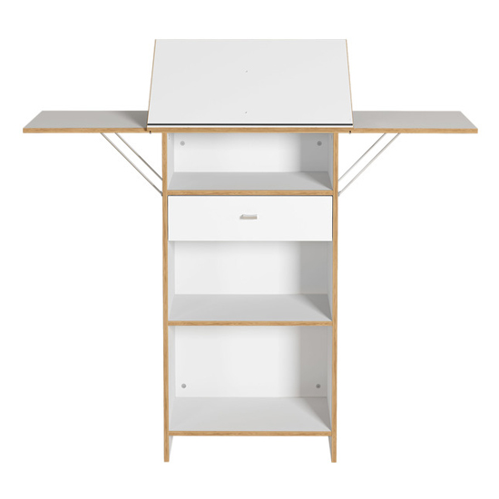 Buna Lecturn With Shelves In White And Navarra Oak_1