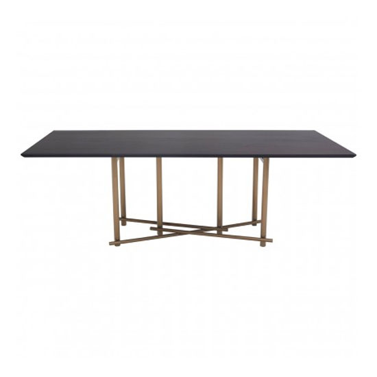 Bunda Wooden Dining Table In Black With Steel Golden Base