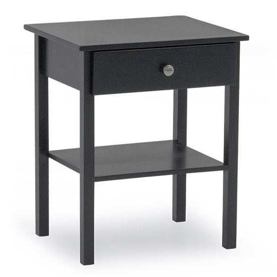 Buntin Wooden Bedside Cabinet In Grey Painted Finish