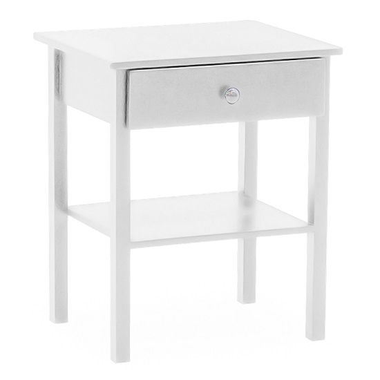 Buntin Wooden Bedside Cabinet In White Painted Finish