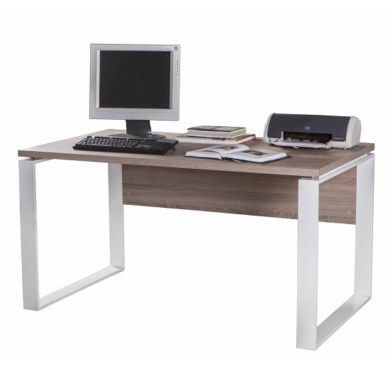 Buren Wooden Computer Desk In Truffle Oak And White Gloss