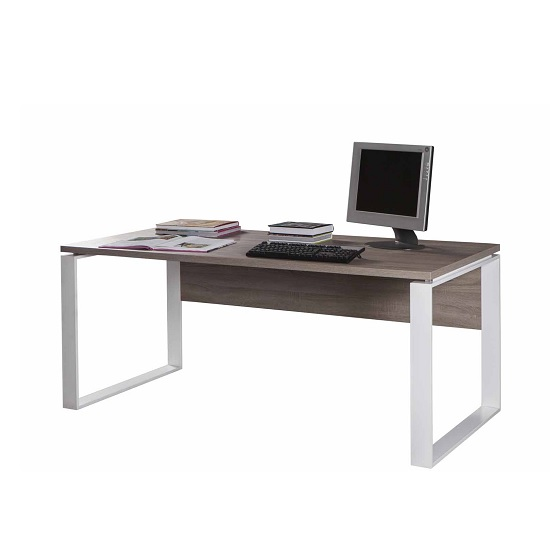 Buren Wooden Computer Desk Large In Truffle Oak And White Gloss