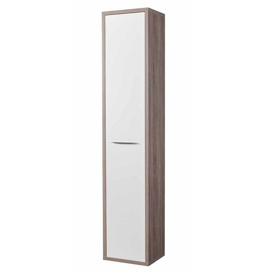 Buren Narrow Cupboard Tall In Truffle Oak And White Gloss