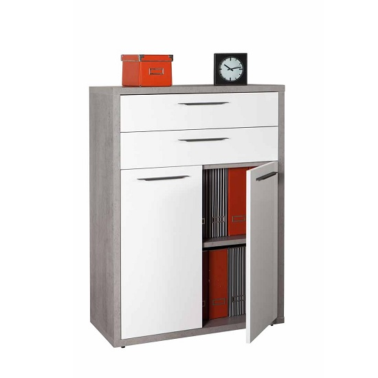 Buren Office Cabinet In Truffle Oak And White Gloss With 2 Doors