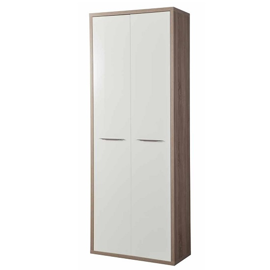 Buren Home Office Cupboard Tall In Truffle Oak And White Gloss