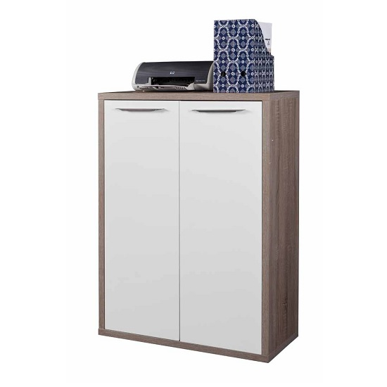Buren Home Office Storage Cabinet In Truffle Oak And White Gloss