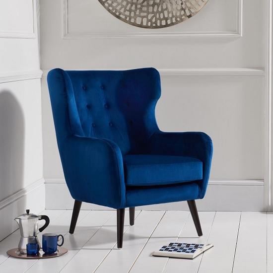 Burnet Modern Accent Chair In Blue Velvet With Dark Legs