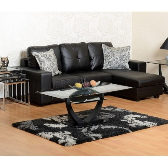 Burnham Reversible Corner Sofa In Black Faux Leather