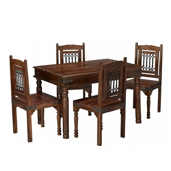 Bursa Wooden Dining Table In Sheesham Wood With 4 Dining Chairs