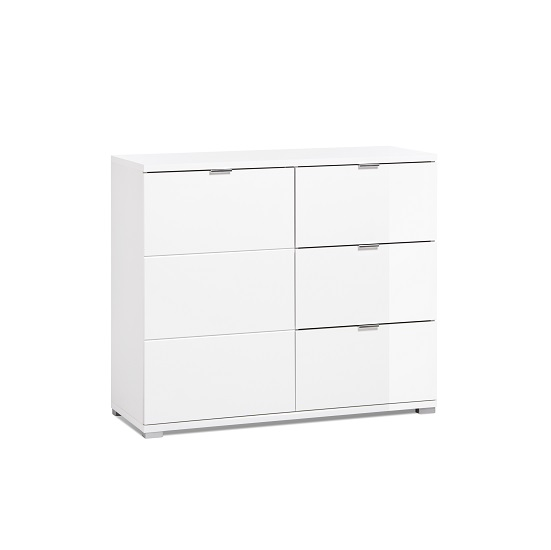 Burton Compact Sideboard In White High Gloss