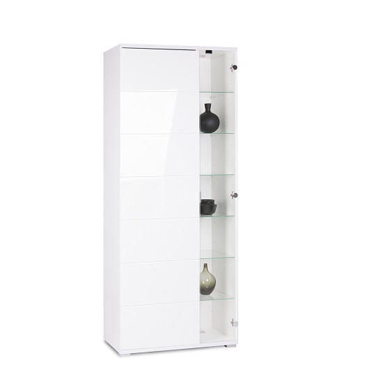 Burton Display Cabinet In High Gloss White With LED Light_1
