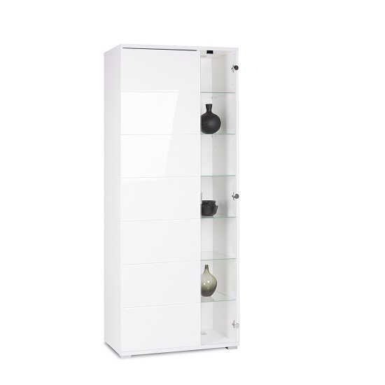 Burton Display Cabinet In High Gloss White With LED Light