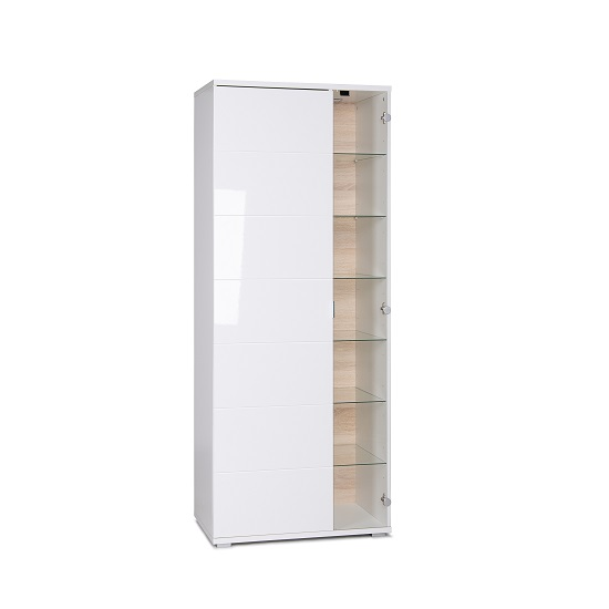 Burton Display Cabinet In High Gloss White With LED Light_2