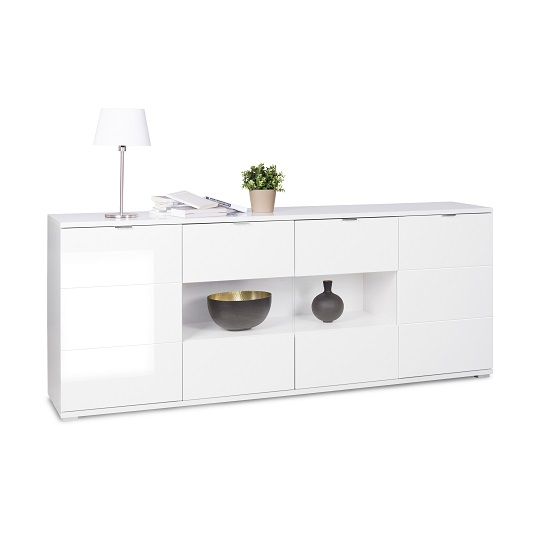 Burton Sideboard In White High Gloss With 4 Doors And LED