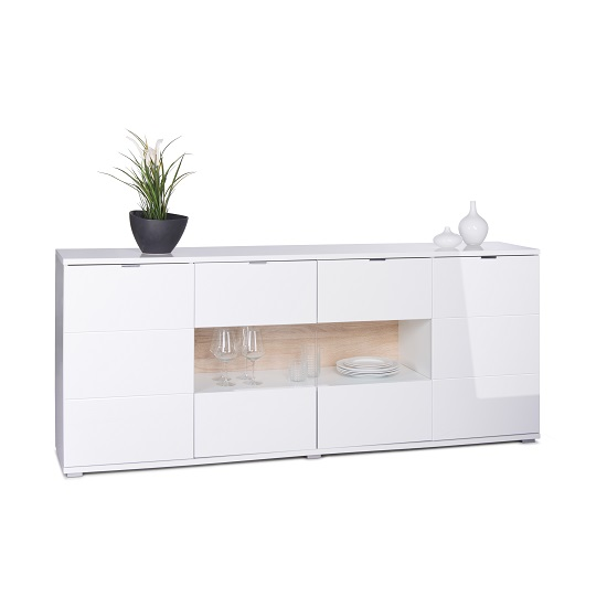 White Gloss Led Furniture: Burton Sideboard In White High Gloss With 4 Doors And LED
