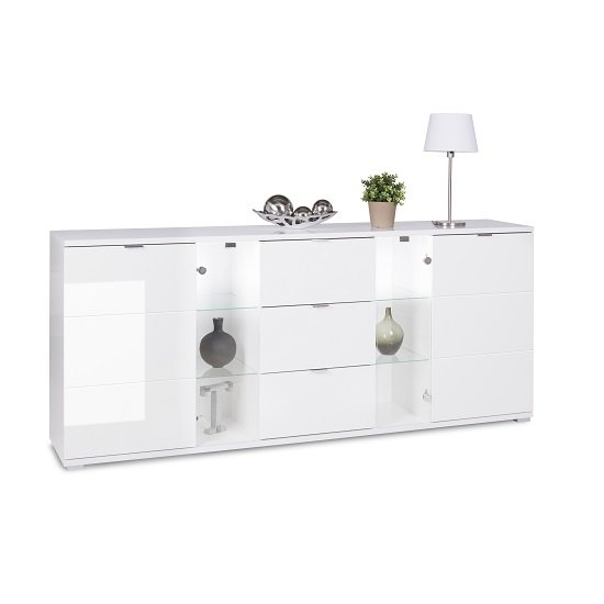 Burton Sideboard In White High Gloss With 3 Drawers And LED