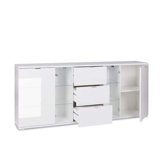 Burton Sideboard In White High Gloss With 3 Drawers And LED_2