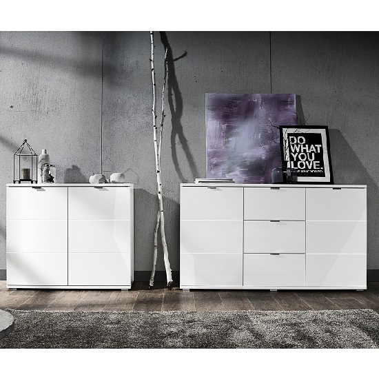 Burton Small Sideboard In White High Gloss With 2 Doors_6