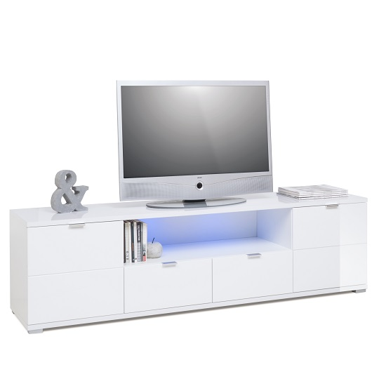 Burton Modern TV Stand In High Gloss White With LED