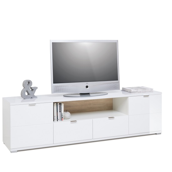 Burton Modern TV Stand In High Gloss White With LED_2