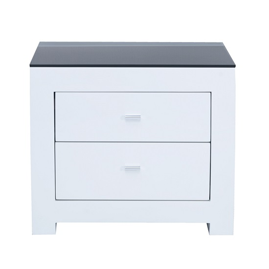 Bushwick Bedside Cabinet In White High Gloss With Glass Top