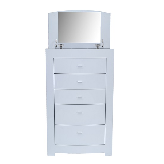 Bushwick Chest Of Drawer In White High Gloss With Mirror_2