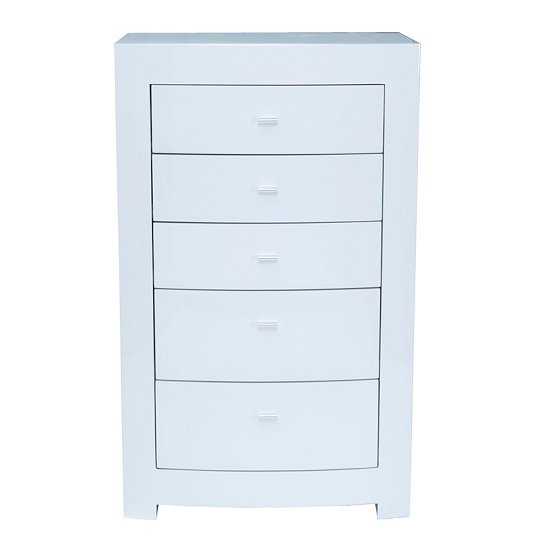 Bushwick Chest Of Drawer In White High Gloss With Mirror