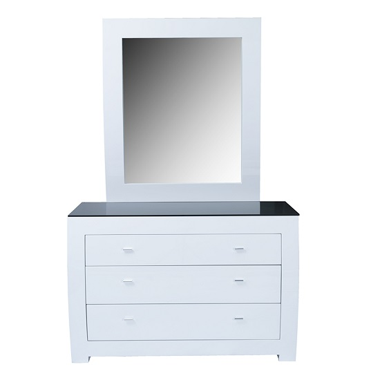 Bushwick Dressing Table And Mirror In White High Gloss