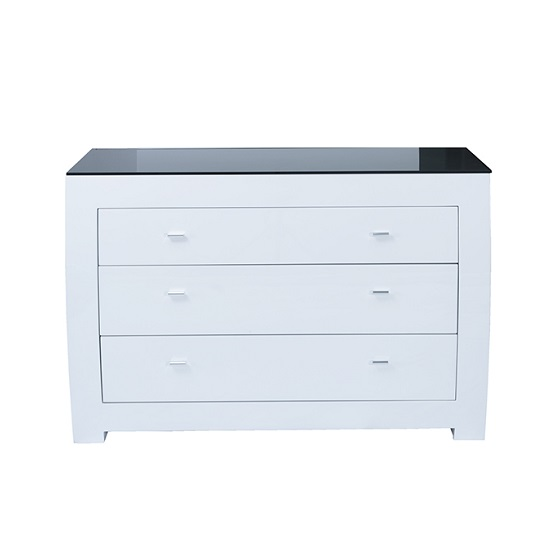 Bushwick Dressing Table In White High Gloss With Glass Top
