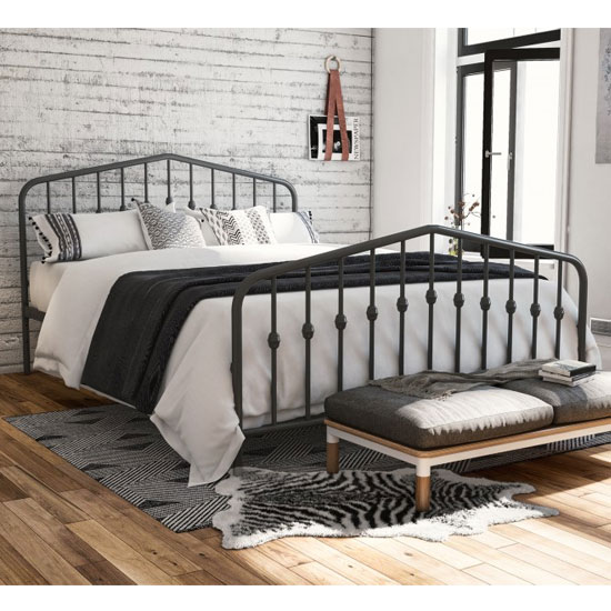 Bushwick Metal Double Bed In Grey