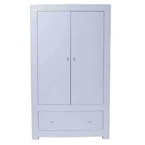 Bushwick Wardrobe In White High Gloss With Two Doors