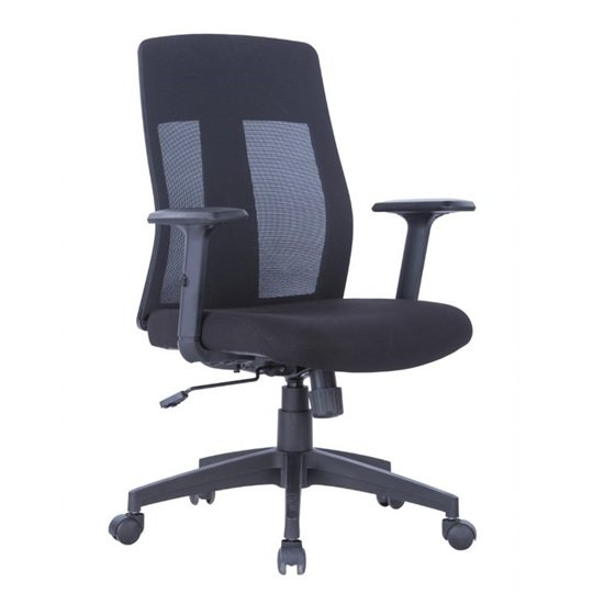 Bussell Mesh Office Chair In Black Finish With Fabric Seat