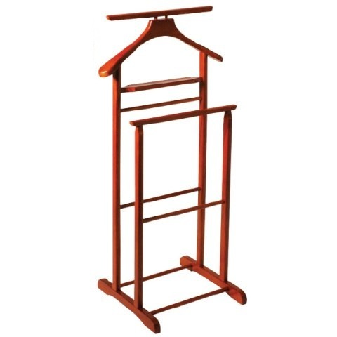 Dual Rail Wooden Valet Stand In Cherry | Furniture in Fashion - Chevalet Vetement