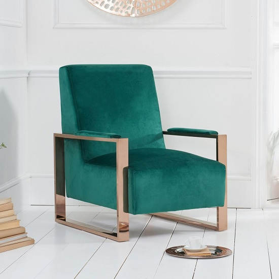 Buzard Velvet Accent Lounge Chair In Green With Rose Gold Frame