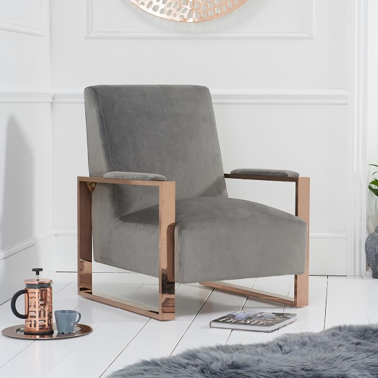 Buzard Velvet Accent Lounge Chair In Grey With Rose Gold Frame