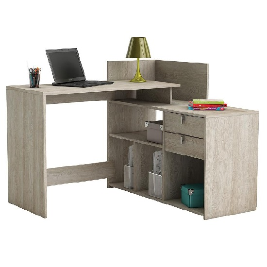Bylan Corner Computer Desk In Shannon Oak With Storage_1