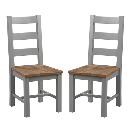 Bylant Grey And Natural Wooden Dining Chairs In Pair