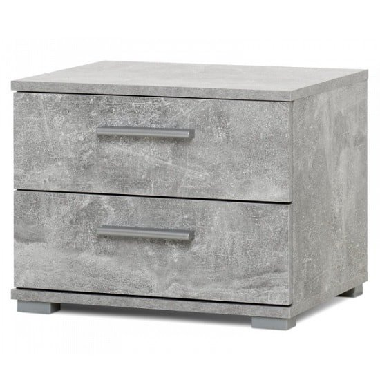 Byron Bedside Cabinet In Structured Concrete With 2 Drawers_1