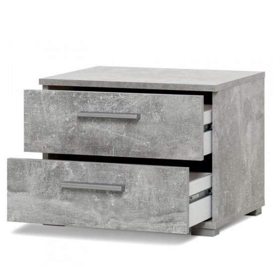 Byron Bedside Cabinet In Structured Concrete With 2 Drawers_2