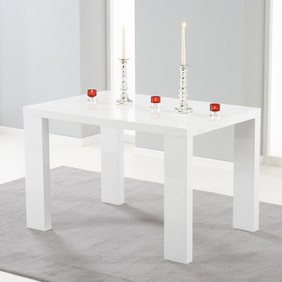 Byron Modern Dining Table Rectangular In White High Gloss