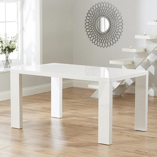 High Gloss Black Glass White Legs Designer Rectangle: Byron Modern Dining Table Rectangular In White High Gloss