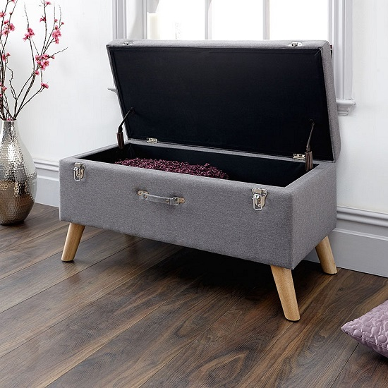 Caballero Fabric Ottoman Storage Bench In Grey_2