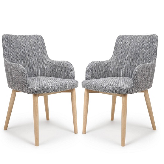 Cabalo Fabric Dining Chair In Tweed Grey In A Pair