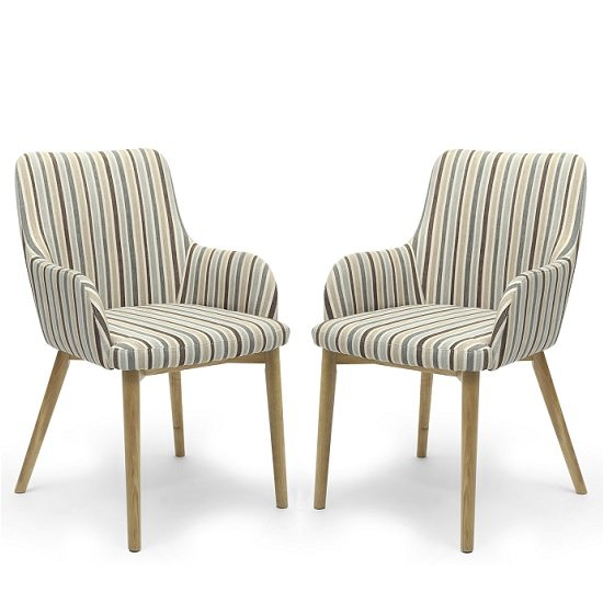 Cabalo Fabric Dining Chair In Stripe Duck Egg Blue In A Pair